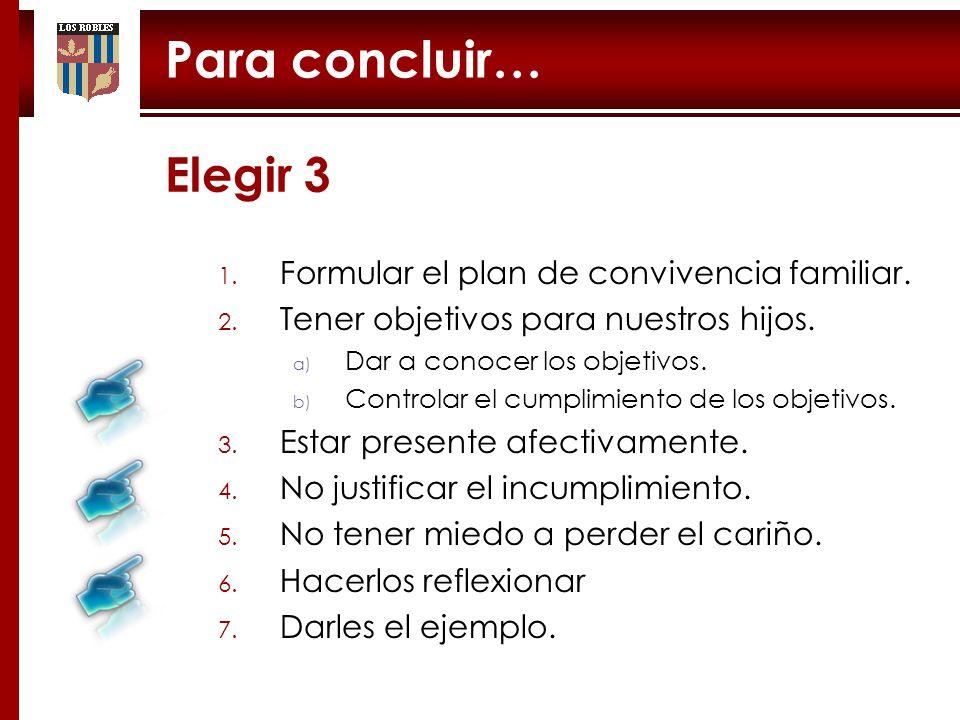 Para concluir… Elegir 3 1.1. Formular el plan de convivencia familiar.
