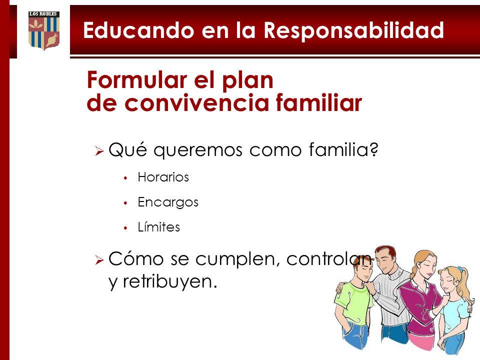 Educando en la Responsabilidad Tarea difícil Formular el plan de convivencia familiar Qué queremos como familia.