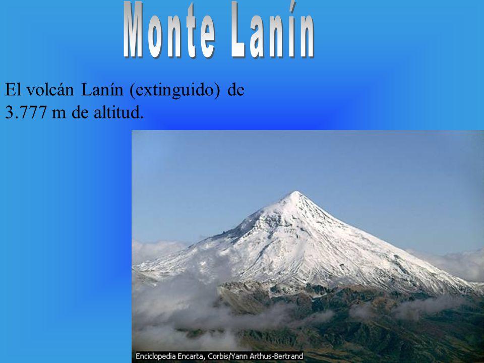 El volcán Lanín (extinguido) de 3.777 m de altitud.