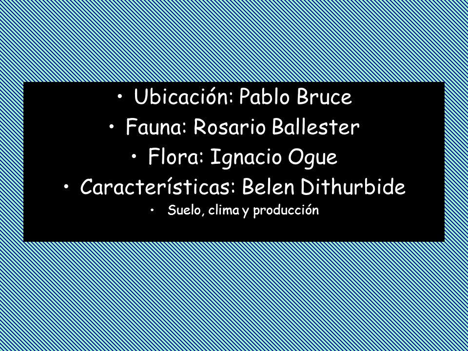 Ubicación: Pablo Bruce Fauna: Rosario Ballester Flora: Ignacio Ogue Características: Belen Dithurbide Suelo, clima y producción