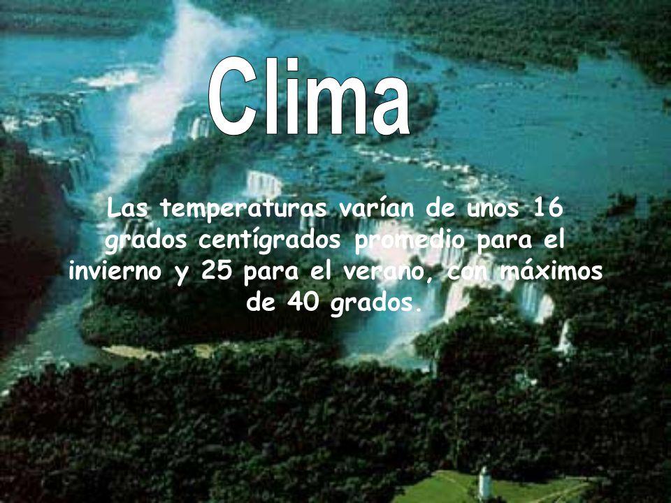 Las temperaturas varían de unos 16 grados centígrados promedio para el invierno y 25 para el verano, con máximos de 40 grados.