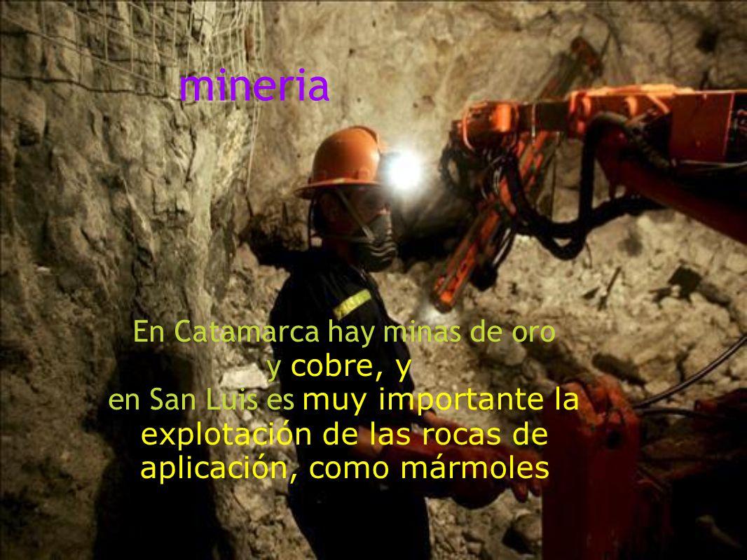 mineria En Catamarca hay minas de oro y cobre, y en San Luis es muy importante la explotación de las rocas de aplicación, como mármoles