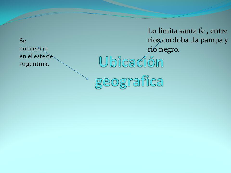Se encuentra en el este de Argentina. Lo limita santa fe, entre rios,cordoba,la pampa y rio negro.
