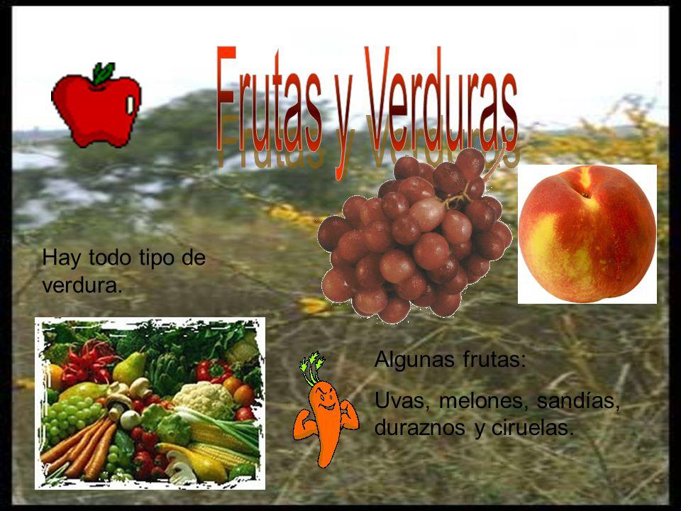 Hay todo tipo de verdura. Algunas frutas: Uvas, melones, sandías, duraznos y ciruelas.