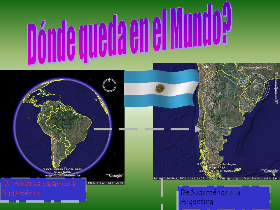 De América pasamos a Sudamérica De Sudamérica a la Argentina