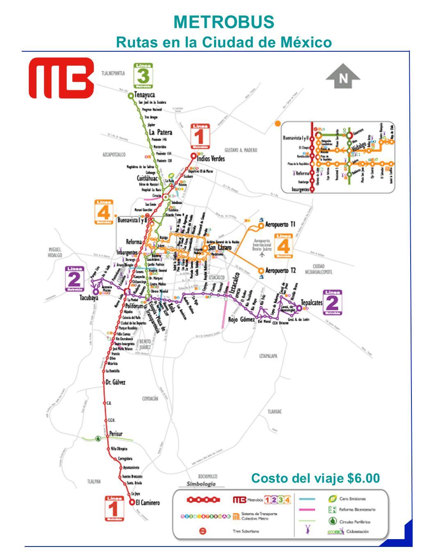 METROBUS Rutas en la Ciudad de México Costo del viaje $6.00