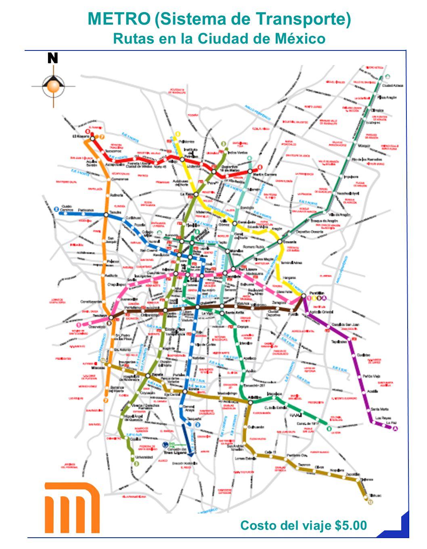 Costo del viaje $5.00 METRO (Sistema de Transporte) Rutas en la Ciudad de México NN