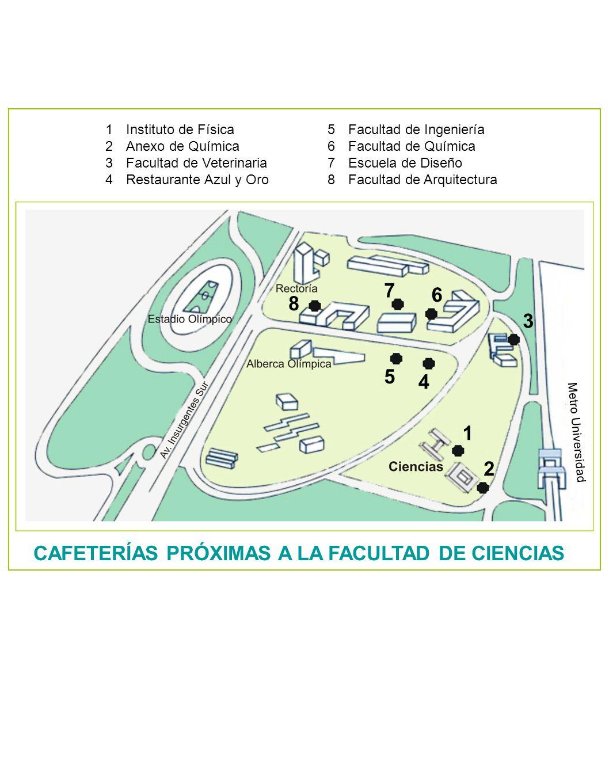 Metro Universidad 1 2 3 4 5 6 7 8 1Instituto de Física 2Anexo de Química 3Facultad de Veterinaria 4Restaurante Azul y Oro 5Facultad de Ingeniería 6Fac