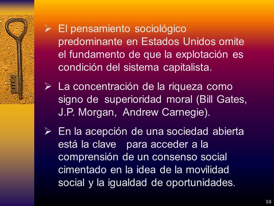 10 El pensamiento sociológico predominante en Estados Unidos omite el fundamento de que la explotación es condición del sistema capitalista.