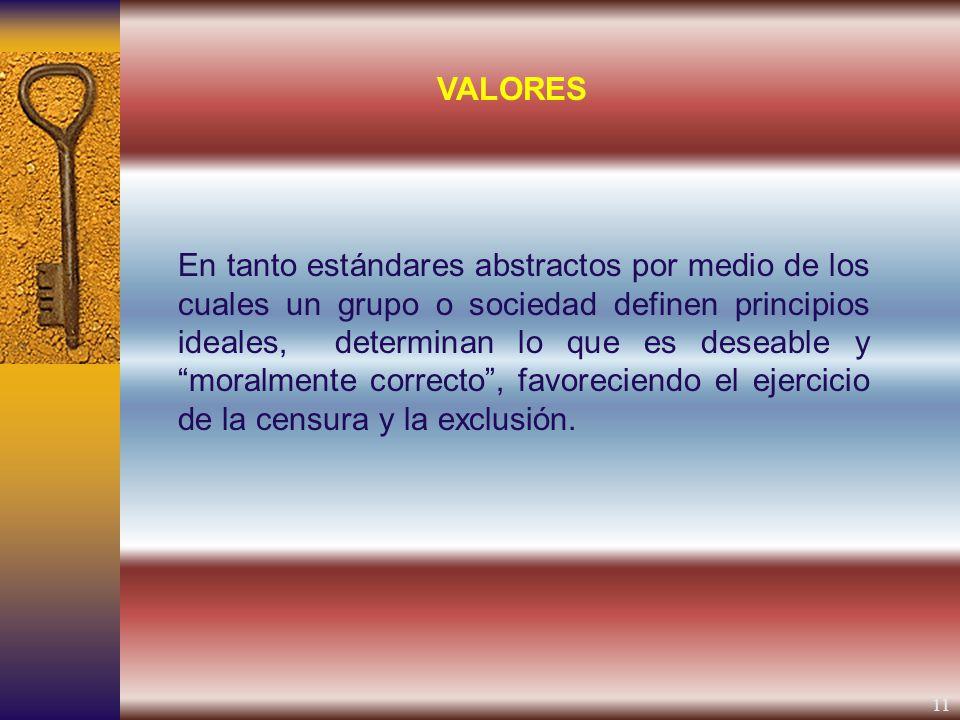 11 En tanto estándares abstractos por medio de los cuales un grupo o sociedad definen principios ideales, determinan lo que es deseable y moralmente correcto, favoreciendo el ejercicio de la censura y la exclusión.