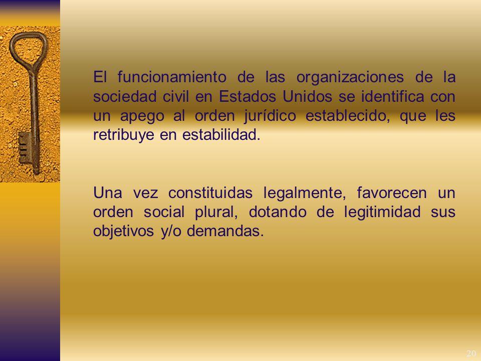 20 El funcionamiento de las organizaciones de la sociedad civil en Estados Unidos se identifica con un apego al orden jurídico establecido, que les retribuye en estabilidad.