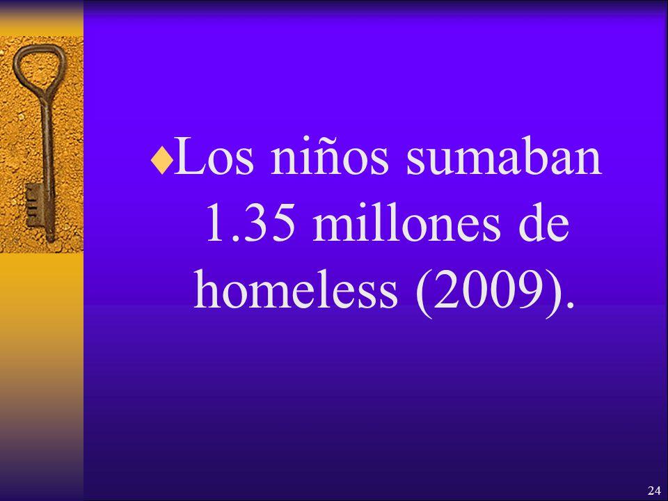 24 Los niños sumaban 1.35 millones de homeless (2009).