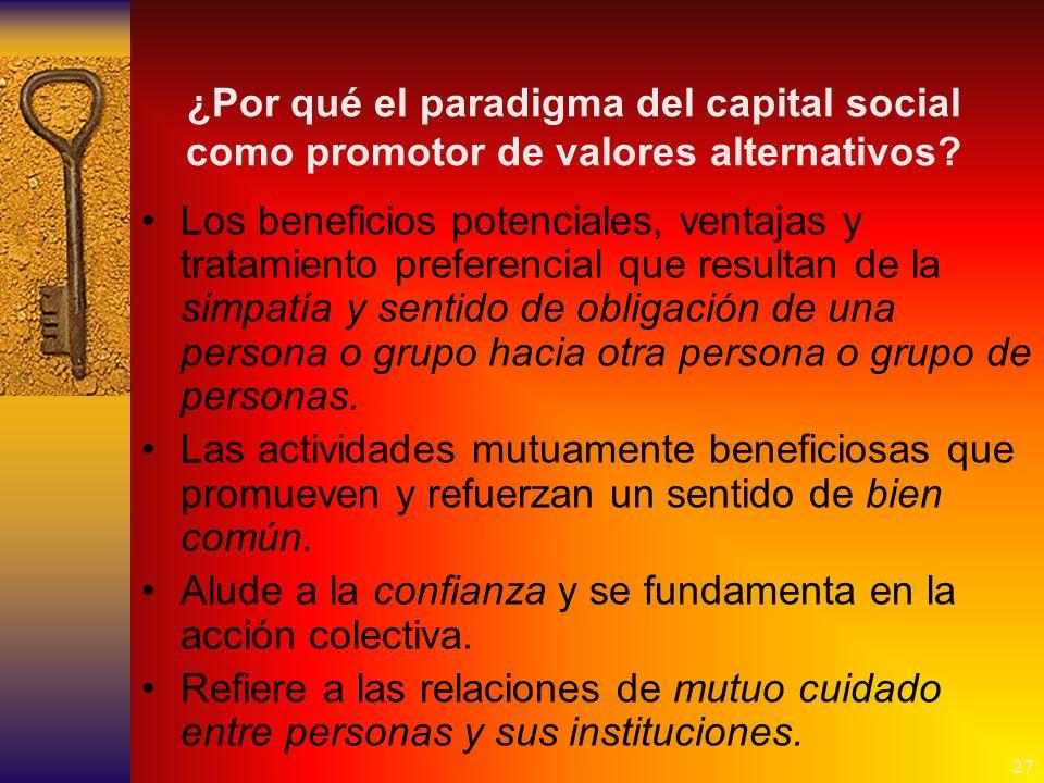 27 ¿Por qué el paradigma del capital social como promotor de valores alternativos.