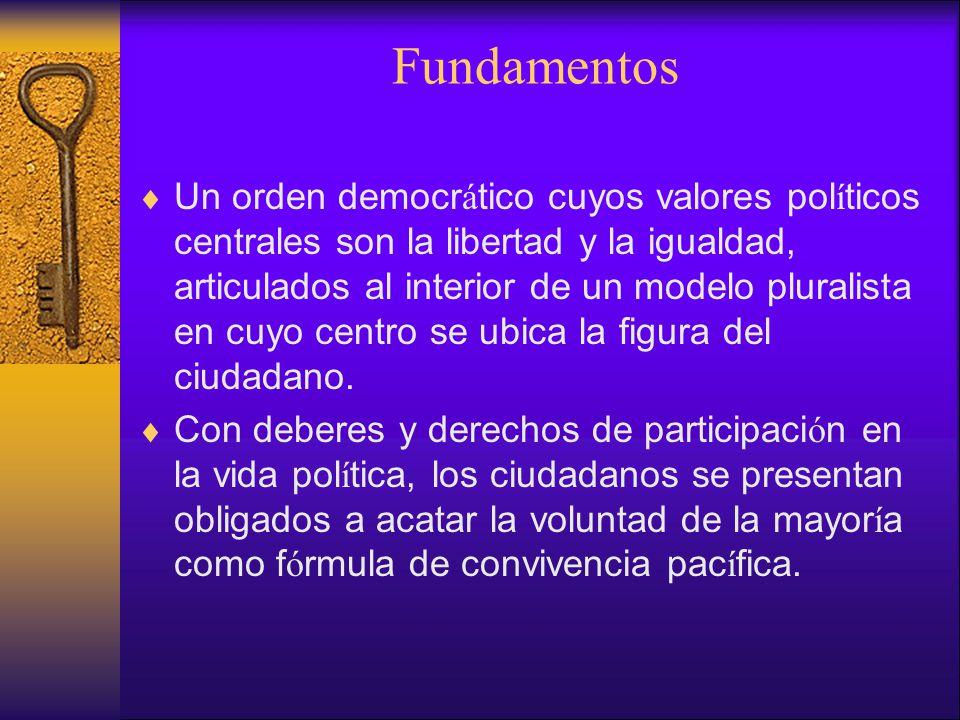 Fundamentos Un orden democr á tico cuyos valores pol í ticos centrales son la libertad y la igualdad, articulados al interior de un modelo pluralista en cuyo centro se ubica la figura del ciudadano.