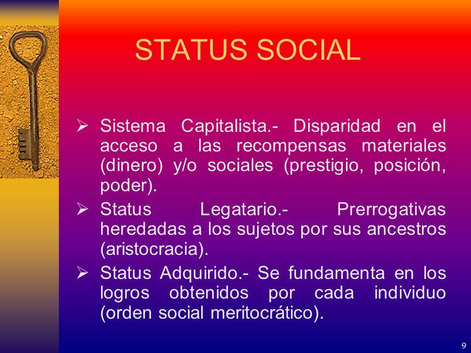 9 STATUS SOCIAL Sistema Capitalista.- Disparidad en el acceso a las recompensas materiales (dinero) y/o sociales (prestigio, posición, poder).