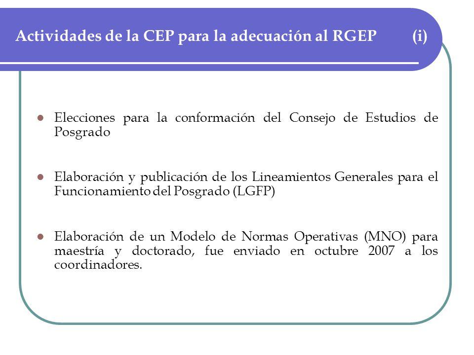 Actividades de la CEP para la adecuación al RGEP (i) Elecciones para la conformación del Consejo de Estudios de Posgrado Elaboración y publicación de los Lineamientos Generales para el Funcionamiento del Posgrado (LGFP) Elaboración de un Modelo de Normas Operativas (MNO) para maestría y doctorado, fue enviado en octubre 2007 a los coordinadores.