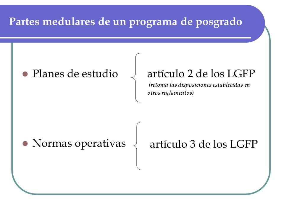 Partes medulares de un programa de posgrado Planes de estudio Normas operativas artículo 2 de los LGFP (retoma las disposiciones establecidas en otros reglamentos) artículo 3 de los LGFP