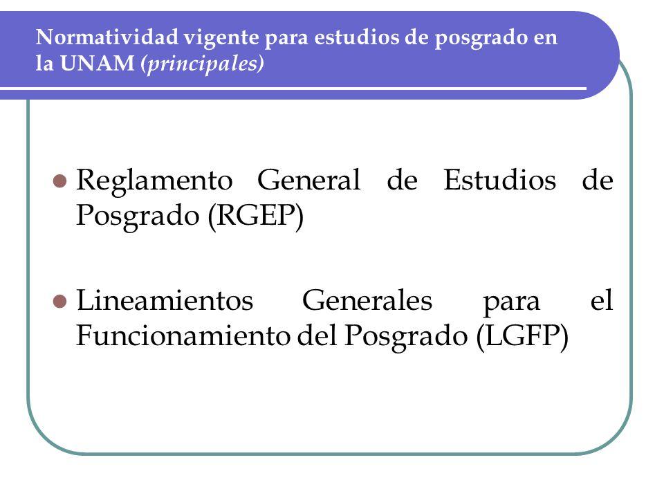 Normatividad vigente para estudios de posgrado en la UNAM (principales) Reglamento General de Estudios de Posgrado (RGEP) Lineamientos Generales para el Funcionamiento del Posgrado (LGFP)