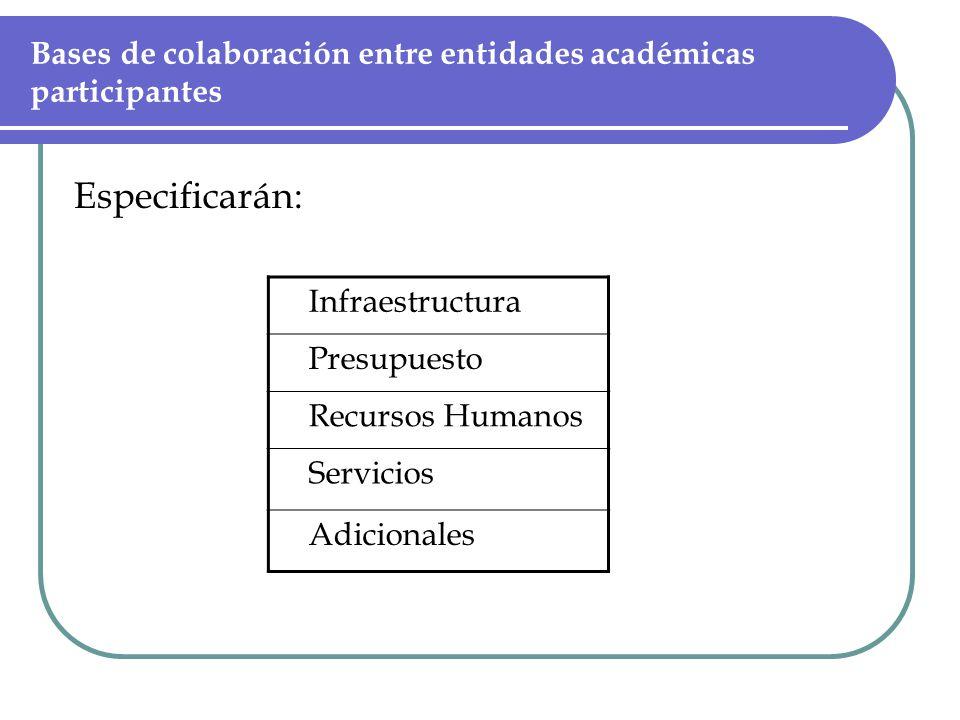 Bases de colaboración entre entidades académicas participantes Especificarán: Infraestructura Presupuesto Recursos Humanos Servicios Adicionales