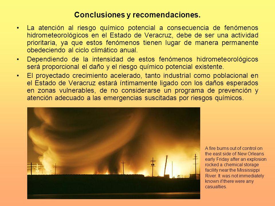 Conclusiones y recomendaciones. La atención al riesgo químico potencial a consecuencia de fenómenos hidrometeorológicos en el Estado de Veracruz, debe