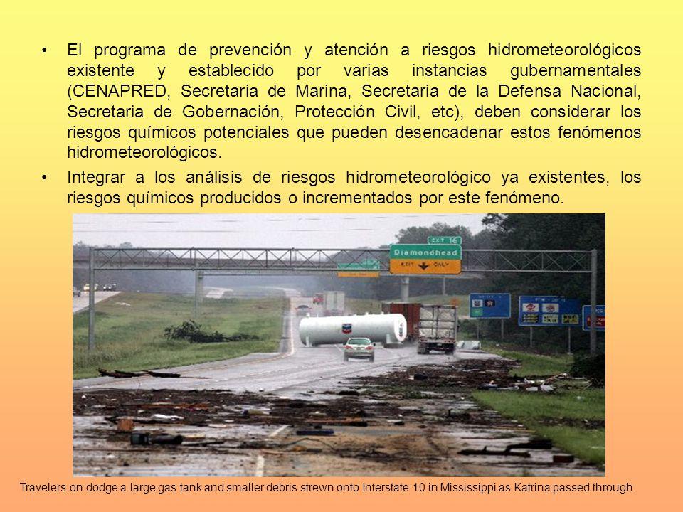 El programa de prevención y atención a riesgos hidrometeorológicos existente y establecido por varias instancias gubernamentales (CENAPRED, Secretaria