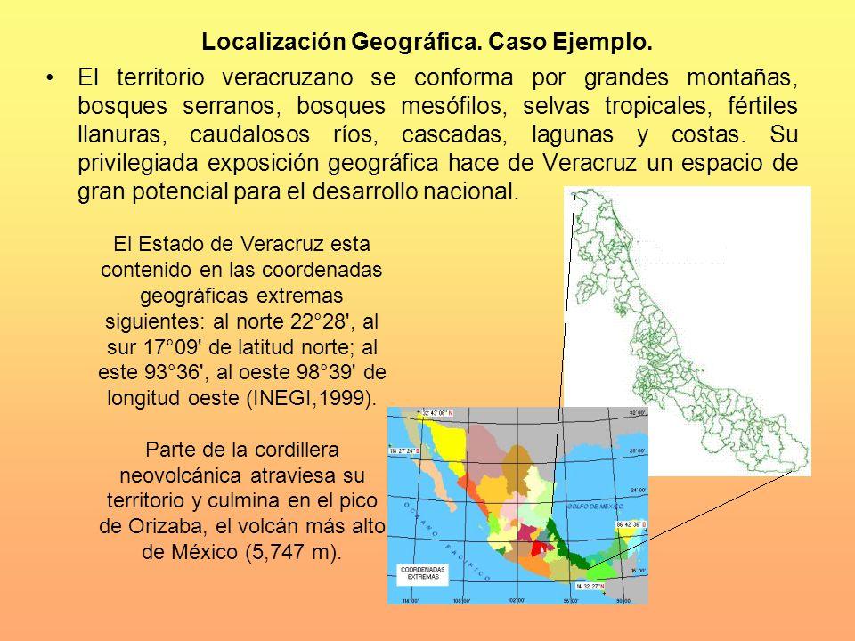 Localización Geográfica. Caso Ejemplo. El territorio veracruzano se conforma por grandes montañas, bosques serranos, bosques mesófilos, selvas tropica