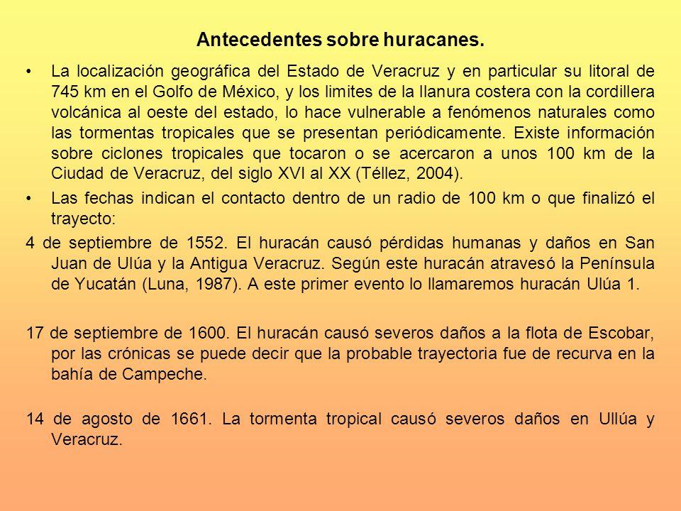 Antecedentes sobre huracanes. La localización geográfica del Estado de Veracruz y en particular su litoral de 745 km en el Golfo de México, y los limi