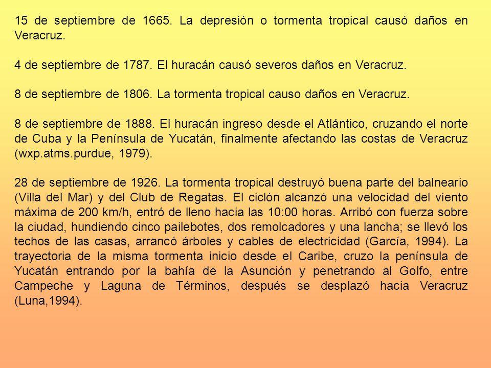 15 de septiembre de 1665. La depresión o tormenta tropical causó daños en Veracruz. 4 de septiembre de 1787. El huracán causó severos daños en Veracru