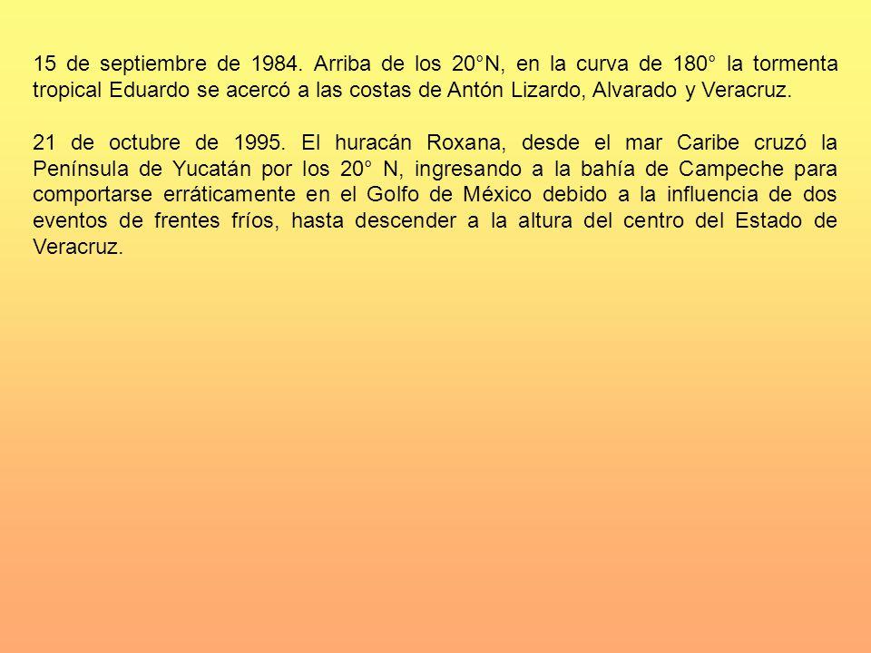 15 de septiembre de 1984. Arriba de los 20°N, en la curva de 180° la tormenta tropical Eduardo se acercó a las costas de Antón Lizardo, Alvarado y Ver