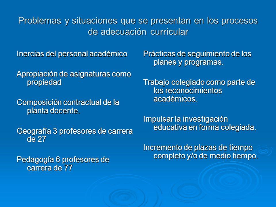 Problemas y situaciones que se presentan en los procesos de adecuación curricular Inercias del personal académico Apropiación de asignaturas como propiedad Composición contractual de la planta docente.