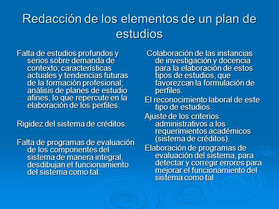 Redacción de los elementos de un plan de estudios Falta de estudios profundos y serios sobre demanda de contexto; características actuales y tendencias futuras de la formación profesional; análisis de planes de estudio afines, lo que repercute en la elaboración de los perfiles.