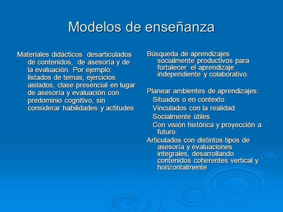Modelos de enseñanza Materiales didácticos desarticulados de contenidos, de asesoría y de la evaluación. Por ejemplo: listados de temas, ejercicios ai