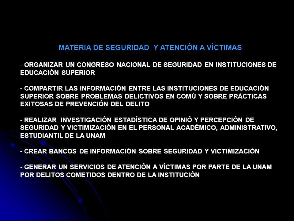 - FORMULAR TODOS LOS REGLAMENTOS INTERNOS DE LAS COMISIONES LOCALES DE SEGURIDAD - CONVENIOS DE COLABORACIÓN DE LA UNAM CON LA PGJDF Y LA PGR, PARA COMPARTIR INFORMACIÓN, ASÍ COMO COADYUVAR EN LA CAPACITACIÓN AL PERSONAL DE SEGURIDAD, ASÍ COMO A LAS COMISIONES LOCALES DE SEGURIDAD - REUNIONES SEMESTRALES Y EXTRAORDINARIAS DE LA COMISIÓN ESPECIAL DEL CONSEJO UNIVERSITARIO CON LAS COMISIONES LOCALES -FOMENTAR LA CULTURA DE LA PREVENCIÓN DEL DELITO ESTABLECIENDO LA SEMANA DE LA SEGURIDAD EN TODA LA UNAM - IMPARTIR CURSOS Y TALLERES CON VALOR CURRICULAR A PROFESORES DE UNAM PARA LA PREVENCIÓN DEL DELITO Y LA SENSIBILIZACIÓN CON LA ATENCIÓN A VÍCTIMAS