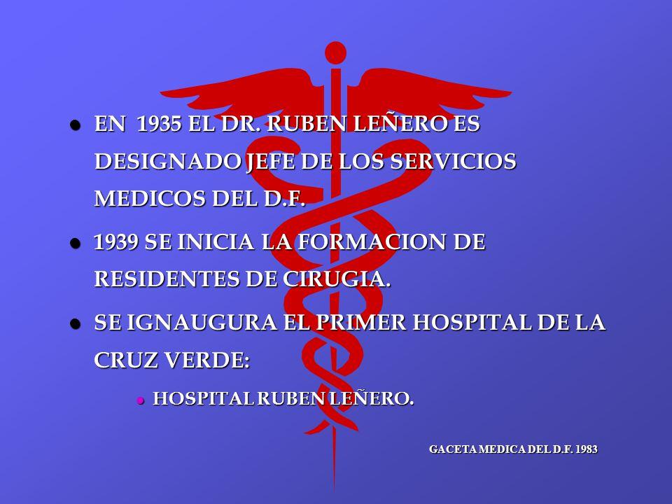 l EN 1935 EL DR. RUBEN LEÑERO ES DESIGNADO JEFE DE LOS SERVICIOS MEDICOS DEL D.F. l 1939 SE INICIA LA FORMACION DE RESIDENTES DE CIRUGIA. l SE IGNAUGU