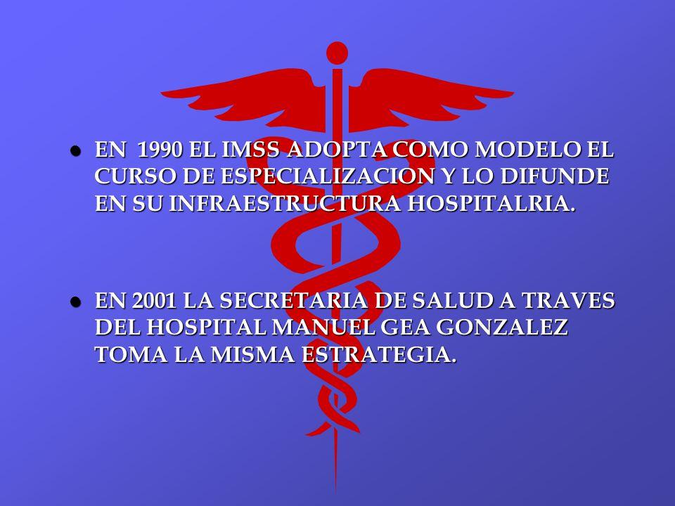 l EN 1990 EL IMSS ADOPTA COMO MODELO EL CURSO DE ESPECIALIZACION Y LO DIFUNDE EN SU INFRAESTRUCTURA HOSPITALRIA. l EN 2001 LA SECRETARIA DE SALUD A TR