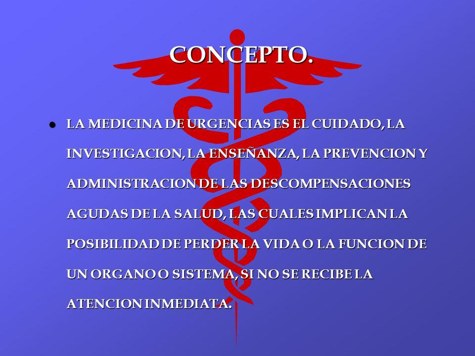 CONCEPTO. l LA MEDICINA DE URGENCIAS ES EL CUIDADO, LA INVESTIGACION, LA ENSEÑANZA, LA PREVENCION Y ADMINISTRACION DE LAS DESCOMPENSACIONES AGUDAS DE