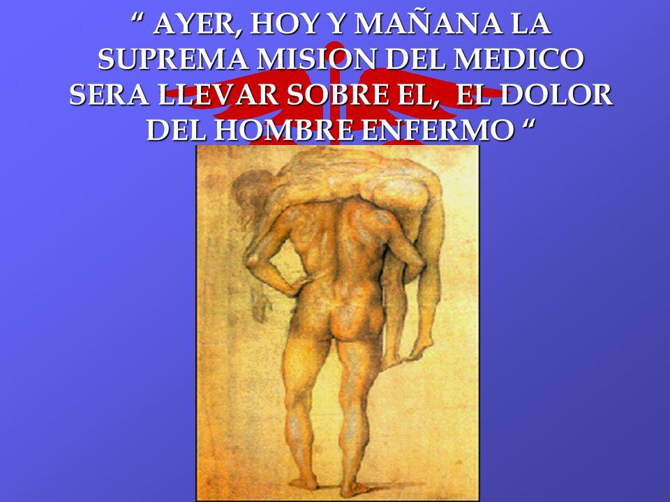 AYER, HOY Y MAÑANA LA SUPREMA MISION DEL MEDICO SERA LLEVAR SOBRE EL, EL DOLOR DEL HOMBRE ENFERMO AYER, HOY Y MAÑANA LA SUPREMA MISION DEL MEDICO SERA