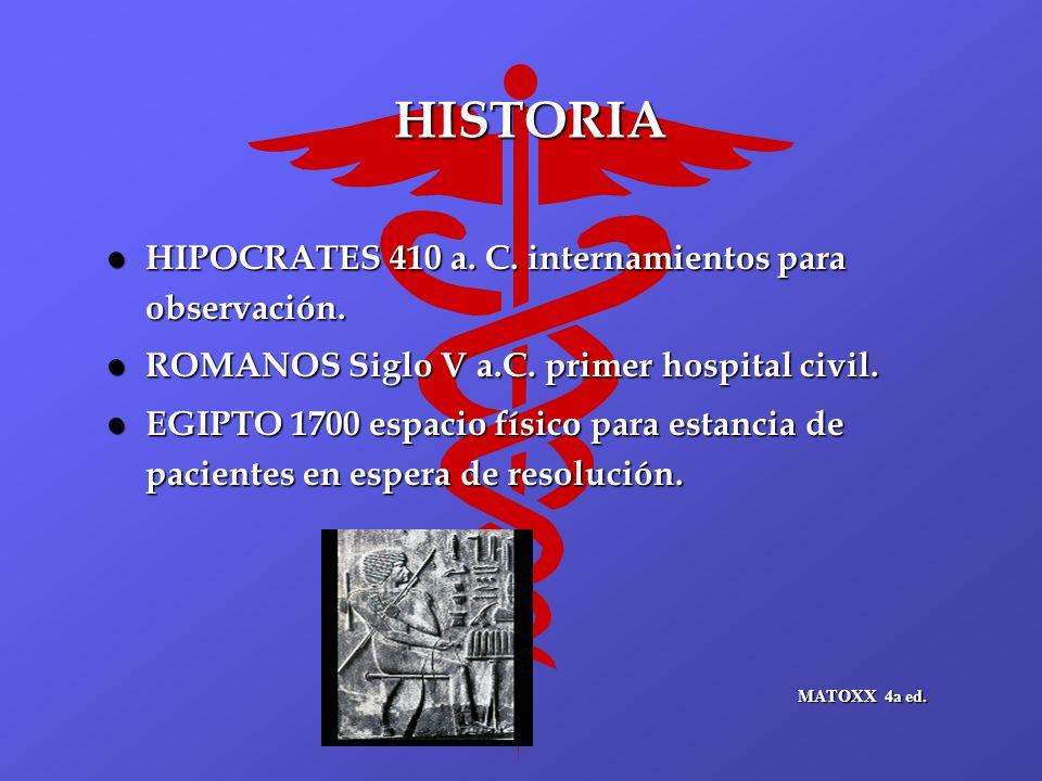 HISTORIA l HIPOCRATES 410 a. C. internamientos para observación. l ROMANOS Siglo V a.C. primer hospital civil. l EGIPTO 1700 espacio físico para estan