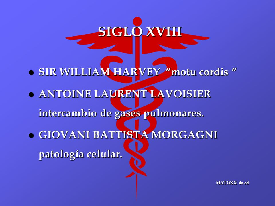 SIGLO XVIII l SIR WILLIAM HARVEY motu cordis l SIR WILLIAM HARVEY motu cordis l ANTOINE LAURENT LAVOISIER intercambio de gases pulmonares.