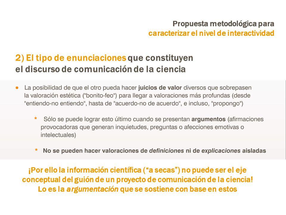 Propuesta metodológica para caracterizar el nivel de interactividad ¡Por ello la información científica (a secas) no puede ser el eje conceptual del guión de un proyecto de comunicación de la ciencia.