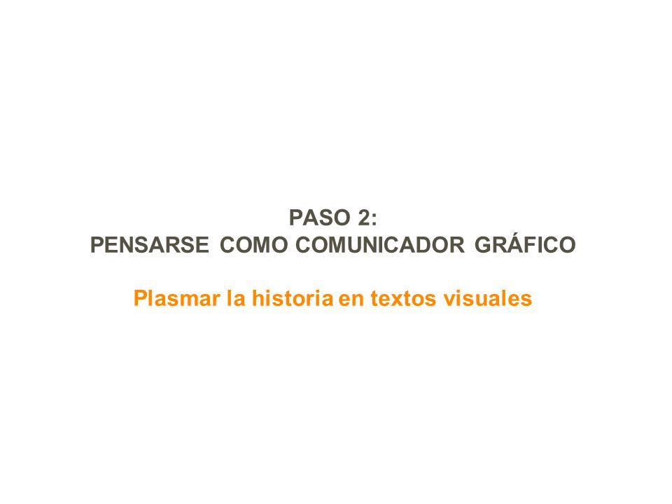 PASO 2: PENSARSE COMO COMUNICADOR GRÁFICO Plasmar la historia en textos visuales