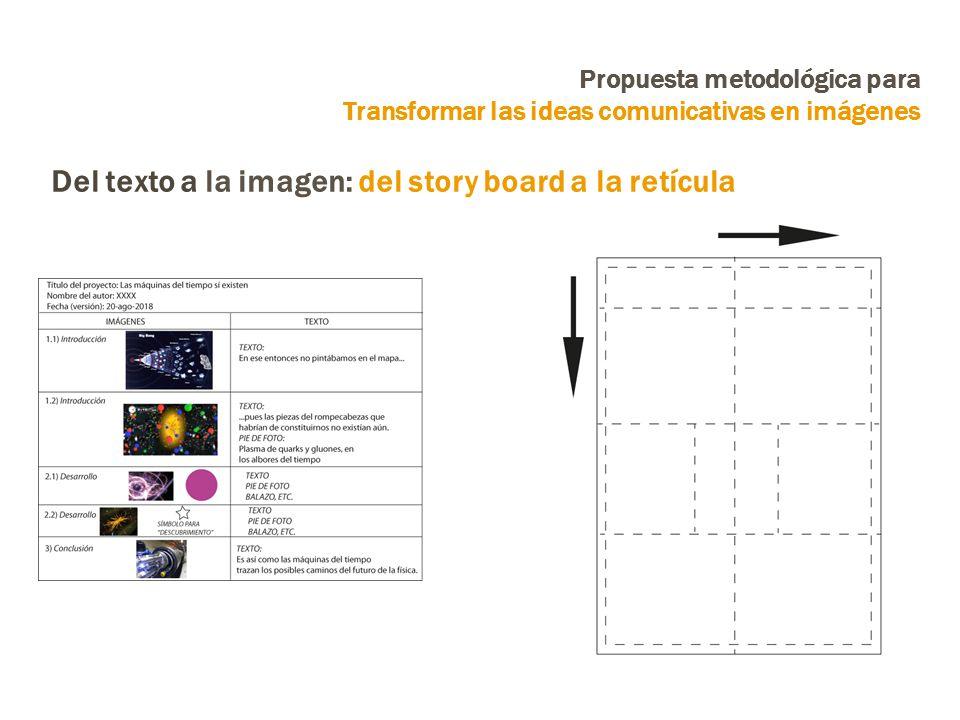 Propuesta metodológica para Transformar las ideas comunicativas en imágenes Del texto a la imagen: del story board a la retícula