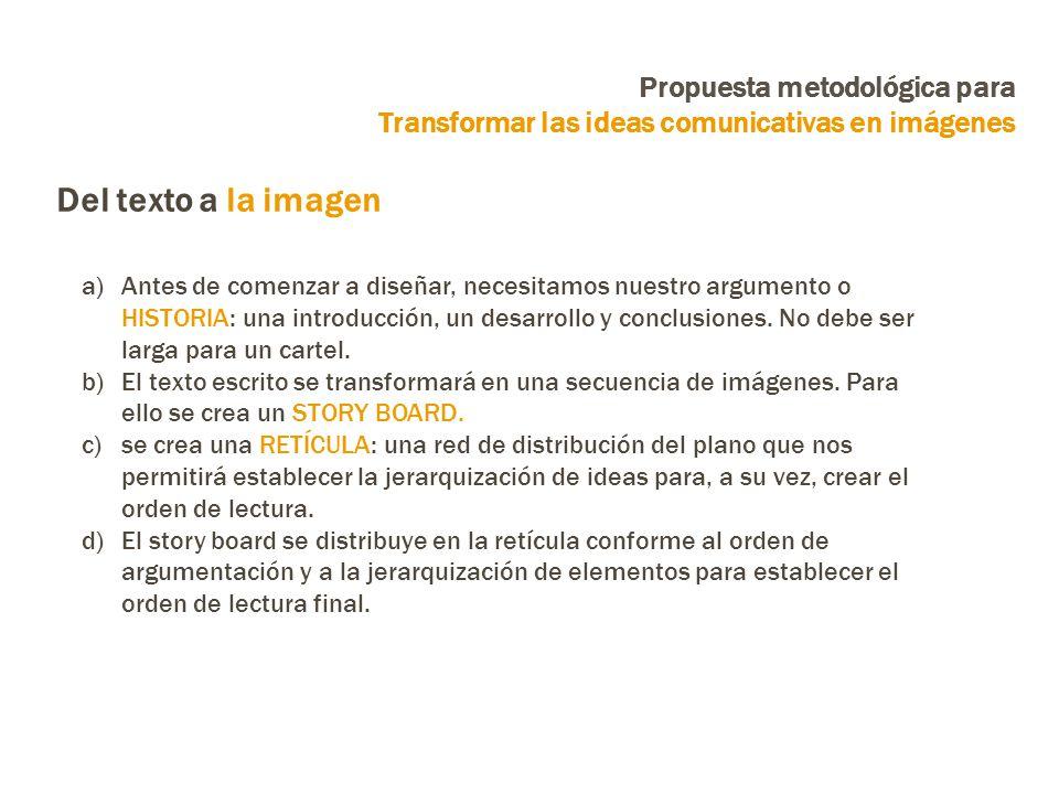a)Antes de comenzar a diseñar, necesitamos nuestro argumento o HISTORIA: una introducción, un desarrollo y conclusiones.