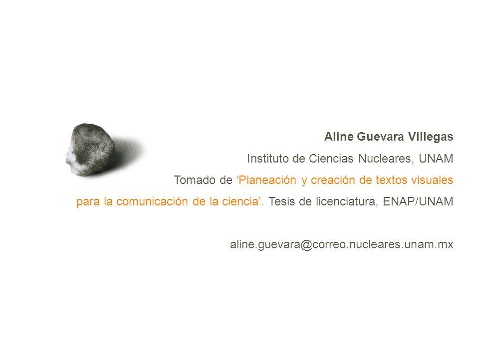 Aline Guevara Villegas Instituto de Ciencias Nucleares, UNAM Tomado de Planeación y creación de textos visuales para la comunicación de la ciencia.