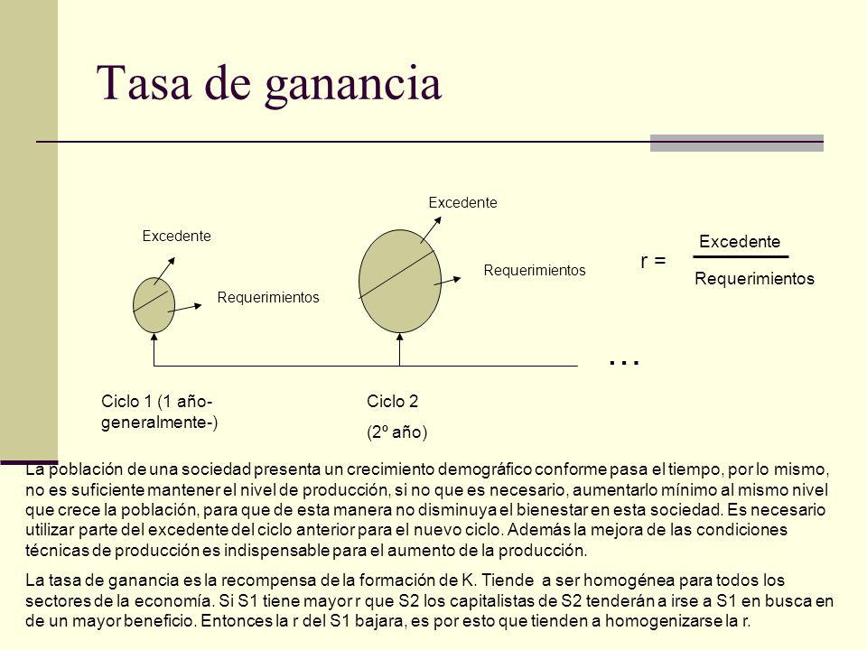 Tasa de ganancia Ciclo 1 (1 año- generalmente-) Ciclo 2 (2º año) Excedente Requerimientos La población de una sociedad presenta un crecimiento demográ