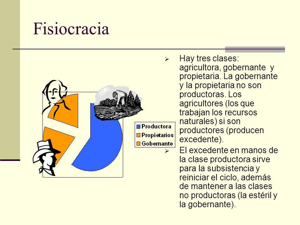 Fisiocracia Hay tres clases: agricultora, gobernante y propietaria. La gobernante y la propietaria no son productoras. Los agricultores (los que traba