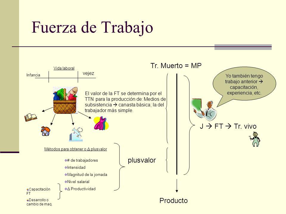 Fuerza de Trabajo Tr. Muerto = MP J FT Tr. vivo plusvalor Producto El valor de la FT se determina por el TTN para la producción de: Medios de subsiste