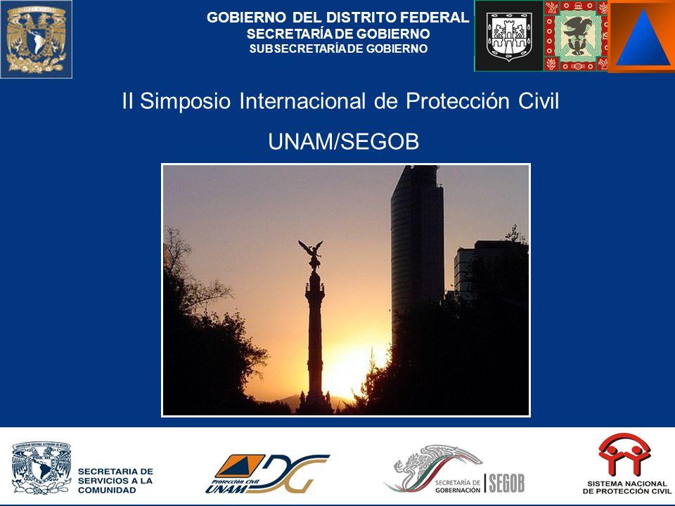 II Simposio Internacional de Protección Civil UNAM/SEGOB GOBIERNO DEL DISTRITO FEDERAL SECRETARÍA DE GOBIERNO SUBSECRETARÍA DE GOBIERNO