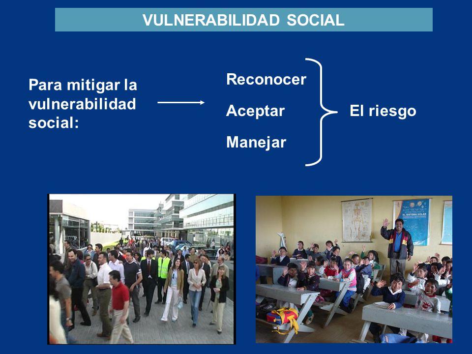 VULNERABILIDAD SOCIAL Para mitigar la vulnerabilidad social: Reconocer Aceptar Manejar El riesgo