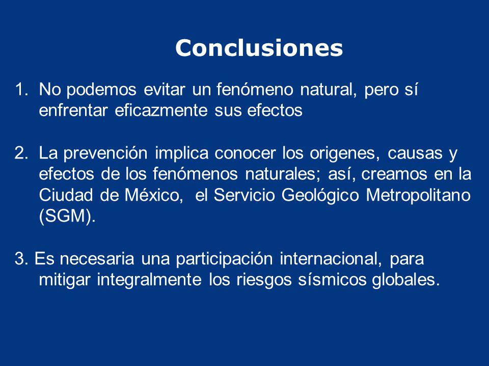 Conclusiones 1. 1.No podemos evitar un fenómeno natural, pero sí enfrentar eficazmente sus efectos 2. 2.La prevención implica conocer los origenes, ca